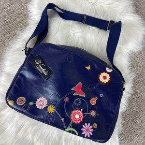 Vendula London Blue Pink Funky Messenger Bag NWT